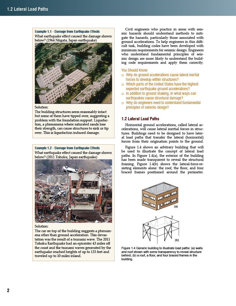 This page provides examples of liquefaction and tsunami damage. Discussion begins about lateral load paths.