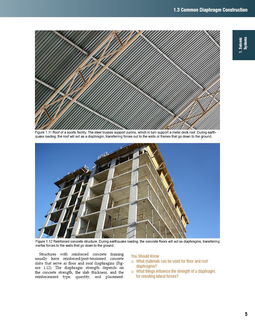 This pages illustrates purlins in a steel building and floor diaphragms in a reinforced concrete building.
